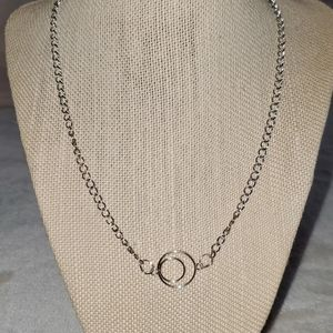 Silver plated necklace with Circle charm.